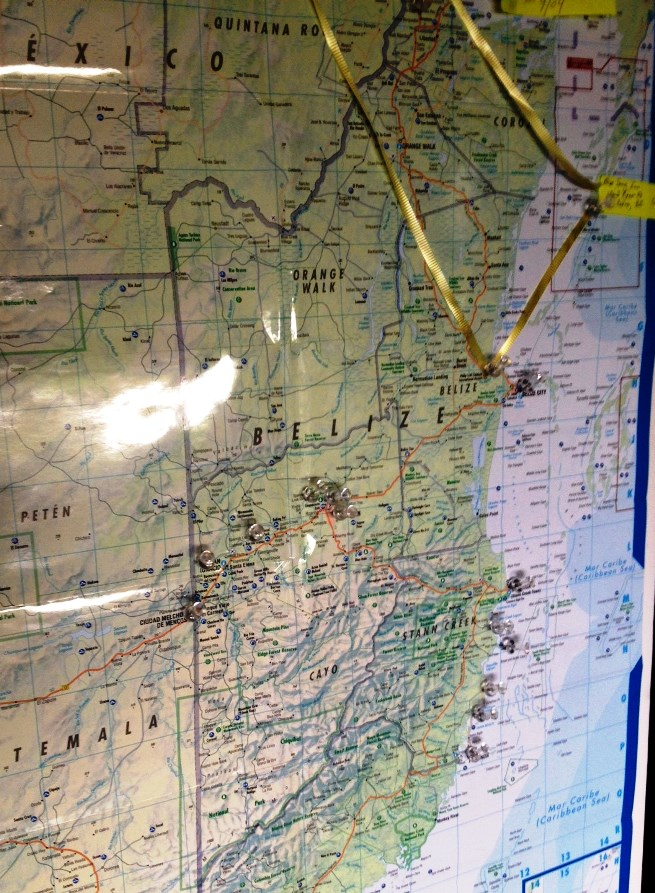 Approaching Belize from the west, you can see how I tried to get fancy with attaching ribbons but out plans are proving more fluid and, really, there aren't that many main roads in Belize. Rose's pins show more in detail where we'd like to stop along the way.