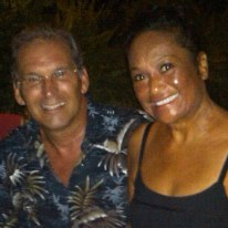 Bob Hawkins and Rose Alcantara on St Lucia in late 2011.