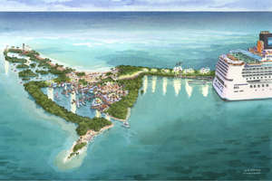 Artist's rendering of Norwegian Cruise Lines vision for its southern Belize port on Harvest Caye.