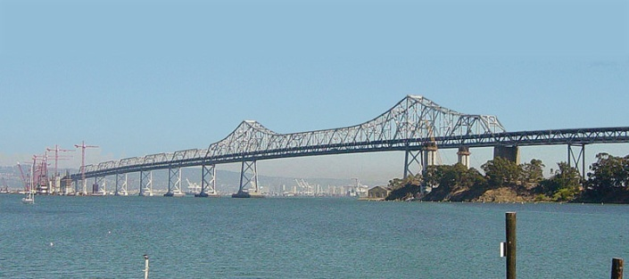 The soon-to-be-replaced eastern span of the Bay Bridge. It goes from Oakland to Yerba Buena Island where vehicles travel through a tunnel to the western span and San Francisco.