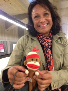 Rose and her longtime companion, Monkey Bob, at a BART station in San Francisco. Making our way to San Francisco International Airport. Monkey Bob was around in various forms before I was, apparently. Some attachments are hard to let go of!