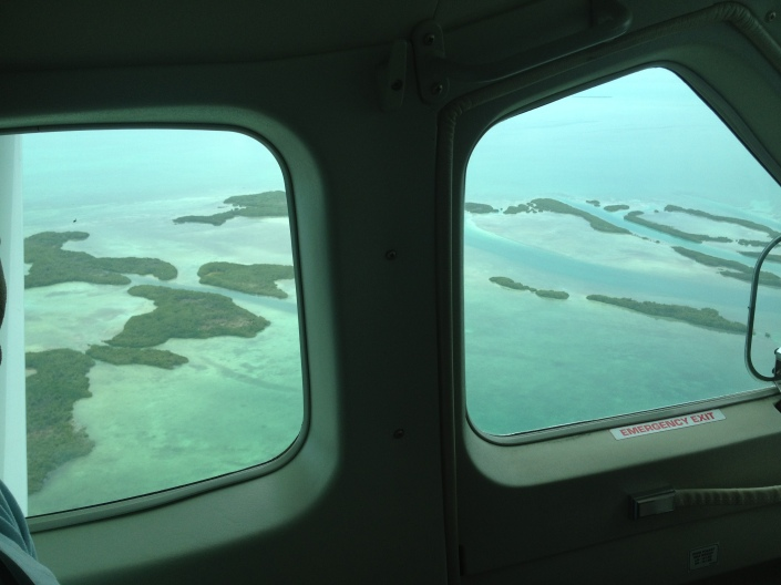 The view out the window as we flew to Ambergris Caye from Belize City.