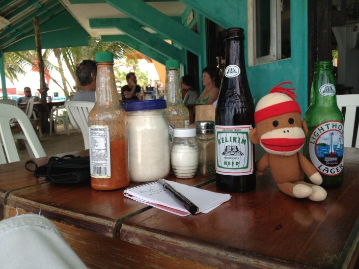 Monkey Bob's first exposure to the national beer, Belikins. Very tasty but the bottles? Very small. Even at $2.50 US a beer. Shot taken at Estel's on the beach where we'll be meeting some recent ex-pats, John and Rose East, for breakfast tomorrow. Can't wait! They are building a home just north of the town of San Pedro.