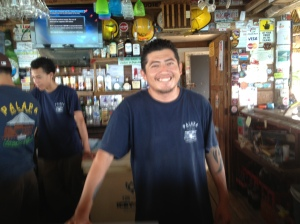 Rony provides service with a smile at the Palapa Bar. The bar has Jimmy Buffet photos posted allover the place. I'm sure he is a god to the patrons of this way laid-back place.