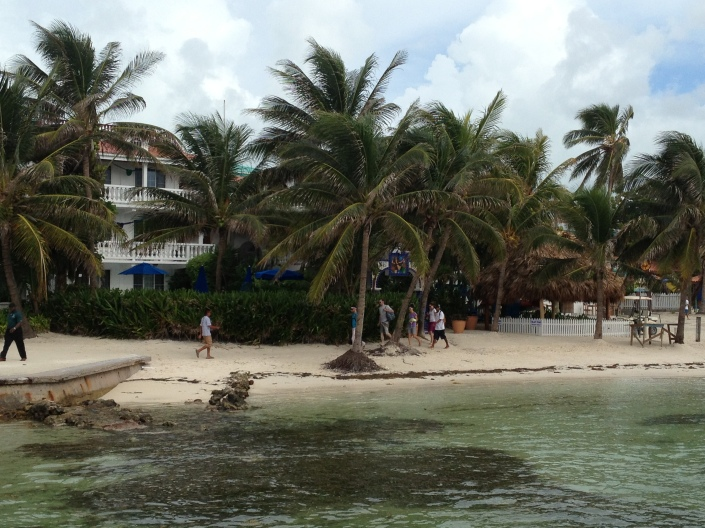 Looking back at the Blue Tang Inn this morning just before our walk down the beach to yoga class for Rose.