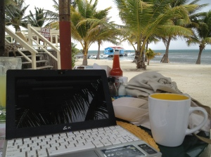 "My ""office"" this morning, an outside table at the Melt Cafe in San Pedro, Ambergris Caye, Belize. A gentle breeze kept me cool and the view kept me distracted -- my kind of office."