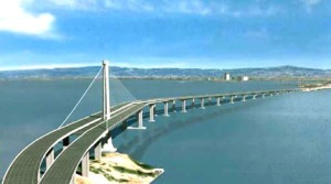 Out with the old. In with the new: TThis is an artist's rendering of the new Bay Bridge eastern span, a $8.4 billion work of art. For now. the old span is just to the right. Dismantling of it will be as interesting to watch as construction of the new bridge was.