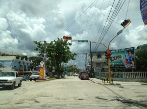 A rare sight in Belize: an actual stop light. This intersection is in the town of Orange Walk, in northern Belize.