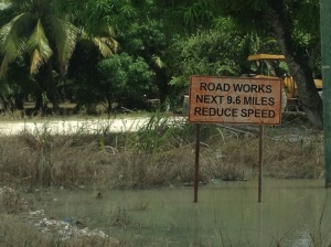 I never did stop to photograph a speed bump -- I mean, how dull is that? -- but I had to take a picture of this  sign which we came upon after nearly an hour crawling at 10 to 15 mph while dodging rocks and potholes. More Belizean humor, I think.