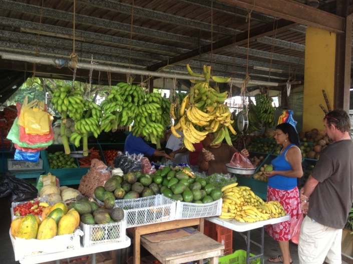 The open air marketplace in San Ignacio, Cayo District, Belize.