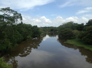 The Macal River on the edge of San Ignacio, eventually merges with the Mopan and then the Belize River which travels to the Caribbean Sea.