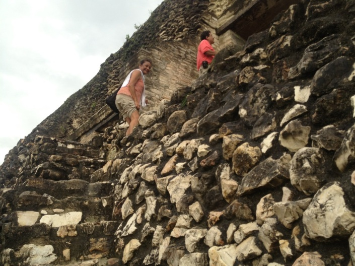 Rose and Hector climbing to the top of El Castillo on the southern side.