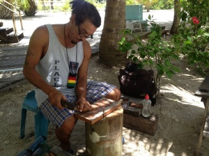 Edwin is a talented woodcarver in Placencia and also has property for sale, if you are interested.