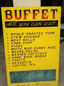 At La Cubana, where Andy's roasting pig will end up, here is the evening buffet menu. Notice the all-you-can-eat price is $25BZ, or $12.50 in U.S. dollars. The same meal for lunch is $10US. Yum.