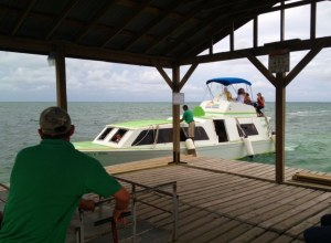 This is one of the water taxis on a regular route between San Pedro, Caye Caulker and Belize City.