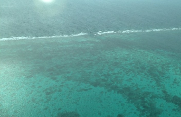 Hol Chan Marine Reserve from the air ... taken as we left Ambergris Cay this morning for Belize International Airport on the mainland. You can just see the channel through the surf that gives the reserve its name.