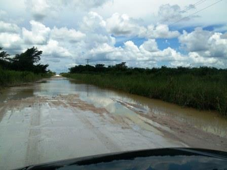 One of the water hazards along the road to Orchid Bay in northern Belize. After all the potholes, this was sort fo a relief -- except we had no idea how deep it was until a truck came along and slogged through it.