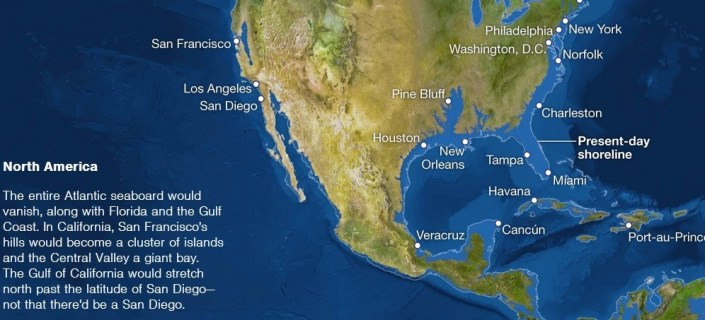 In this screen grab from the National Geographic, Belize would be a small lump of land and San Francisco would be the Venice of the West should all the Earth's ice melt. Though it would take 5,000 years for that to happen, climate change and rising sea levels are already having an impact on coastal lands.