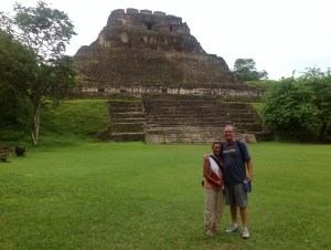 Rose and I in front of Mayan ruins near San Ignacio.