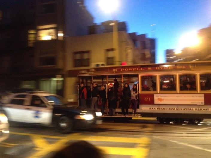 Powell & Hyde trolley heads toward North Beach in San Francisco on Christmas evening.