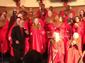 """The Rev"" Cecil Williams lays it down with the chorus at Glide Memorial Church in San Francisco on Christmas morning, Dec. 25, 2013."