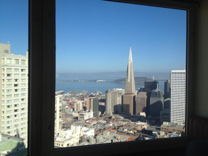 Part of the sweeping view of San Francisco bay from our table at the Top of the Mark restaurant where we had brunch on Christmas Day.