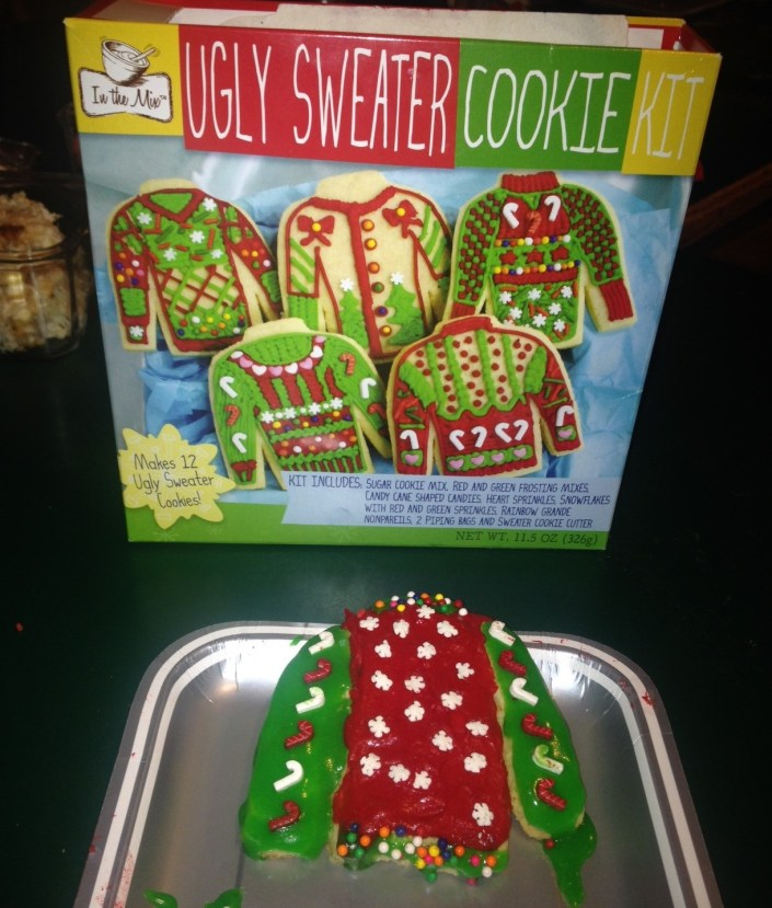 """One new holiday contest --- making ugly sweater cookies. This is mine and it wasn't nearly the """"ugliest."""" Sadly, I forgot to eat it before we left ...."""