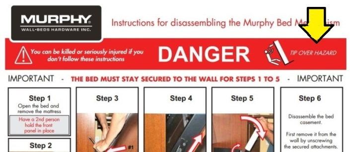 The warning signs are all over the instructions for disassembling a Murphy bed. The trick is, you have to read them.