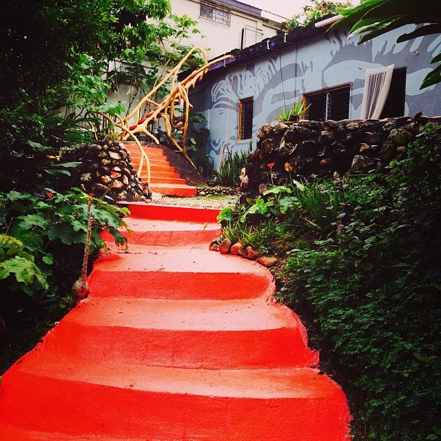 Iconic steps leading to Preston Wright's Kumquat Cottage in San Ignacio.
