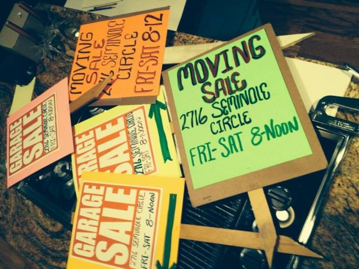 My arty garage sale signs, which mostly fell apart in the dark of night as I pounded them into the ground. Once again, duct tape saves Fumbling Man.