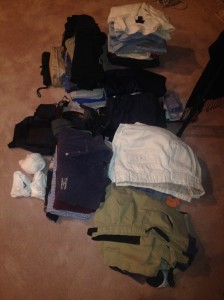 My stuff so far. Really, how many button down  stripped shirts can you wear in Belize?