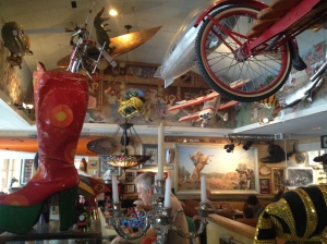 Breakfast on Saturday with my pal Walter Cook at Buck's on Woodside -- a great comfort food cafe with a quirky collection of memorabilia  hanging everywhere. Great food, great company and really weird stuff.
