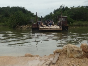 One of a few hand-crank ferries operating on Belize rivers, this one in Corozal District.