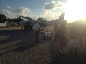 Almost the last plane of he day to land in San Pedro, our Mayan Air taxi carried 12 people, including Rose and me.