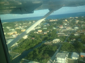 Approaching San Pedro Town on Amberris Caye from Belize City in a Mayan Air airtaxi.