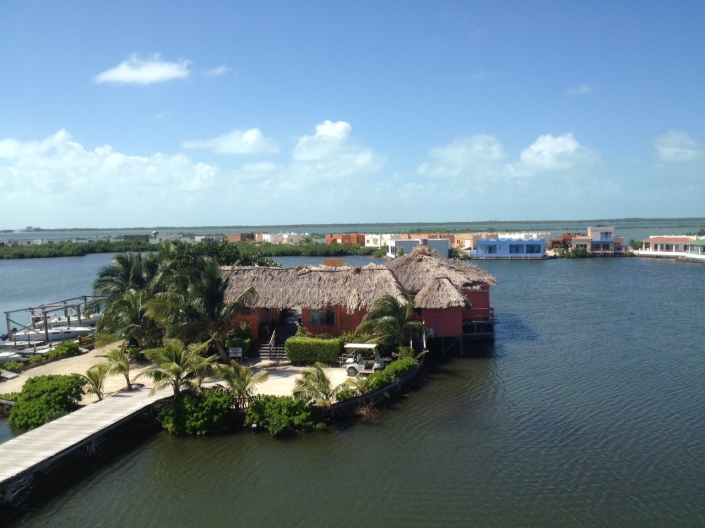 The view from our new home in Reef Village, just north of the bridge in San Pedro Town, Ambergris Caye, Belize.