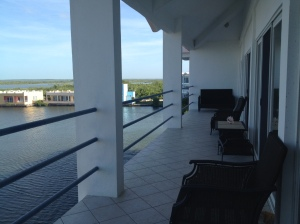 The porch on our condo stretches about 30 feet -- lots of room for yoga, writing and lagoon-gazing ...