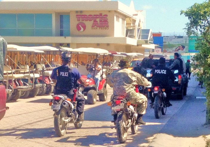 "Shock and awe: Military and law enforcement types converged on San Pedro Town for two days of ""public display of enforcement."" This, after four gang-type shootings in less than four weeks on the little island of Ambergris Caye."