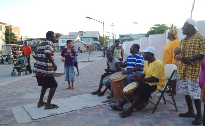 Garifunian drummers and singers are mostly found in Dangriga and Hopkins but their music is the pride of all of Belize. This group was playing in front of the new Louis Sylvestre sports & cultural complex prior to a dedication ceremony Friday night.