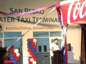 Mayor Daniel Guerrero addressing the crowd on Friday at the new Water Taxi Terminal Inauguration.