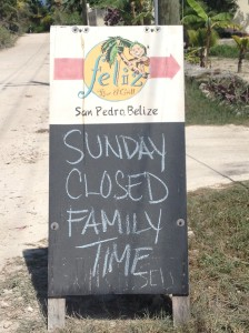 The Baker isn't the only San Pedro establishment with a good handle on Sundays. Felize is a beach-sports bar right across the street from us. I saw this sign as we pedaled home this morning. I kind of like and respect that.