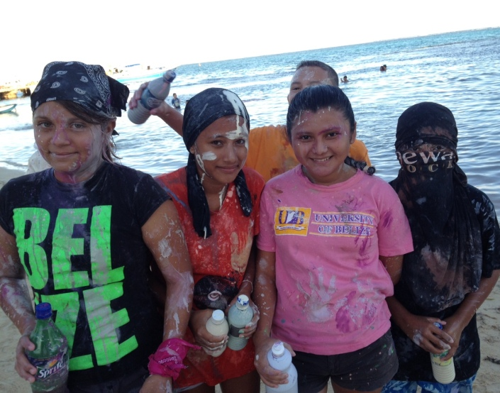 On the beach at Central Park in San Pedro Town. Let the painting begin!