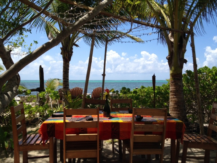 Aji Tapas Bar & Restaurant  is one of the island's environmental restaurants -- no walls, sand floor, canopy of trees with firefly lights.  There's a palapa which you can scoot under and finish your meal should it rain.