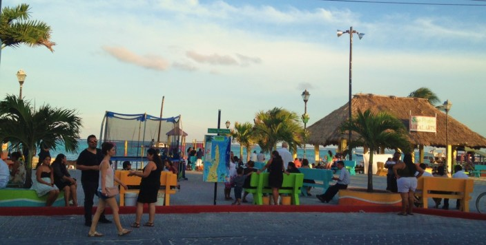 Central Park in San Pedro Town, Ambergris Caye, Belize, late on Good Friday afternoon.