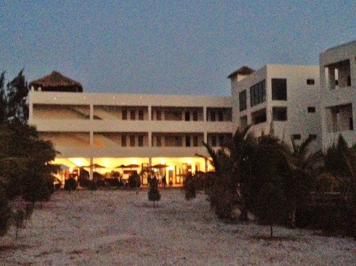 Looking back toward the Hotel's patio from the edge of the lagoon, shortly after sunset on Friday.