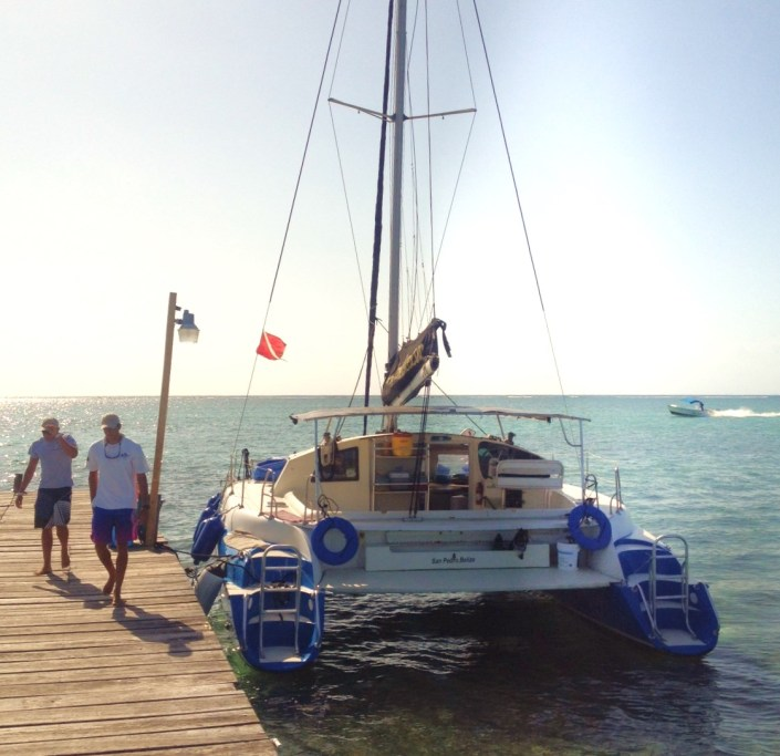 "The Lady Leslie, a 38-foot catamaran for charter in San Pedro Town, Ambergris Caye, Belize. Our ""rise"" for the day."