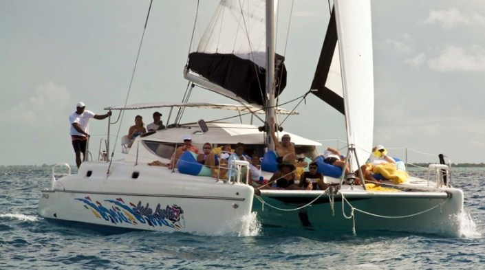 Happy people aboard the lovely Lady Leslie -- join us Tuesday night for a sunset-moonrise sail!