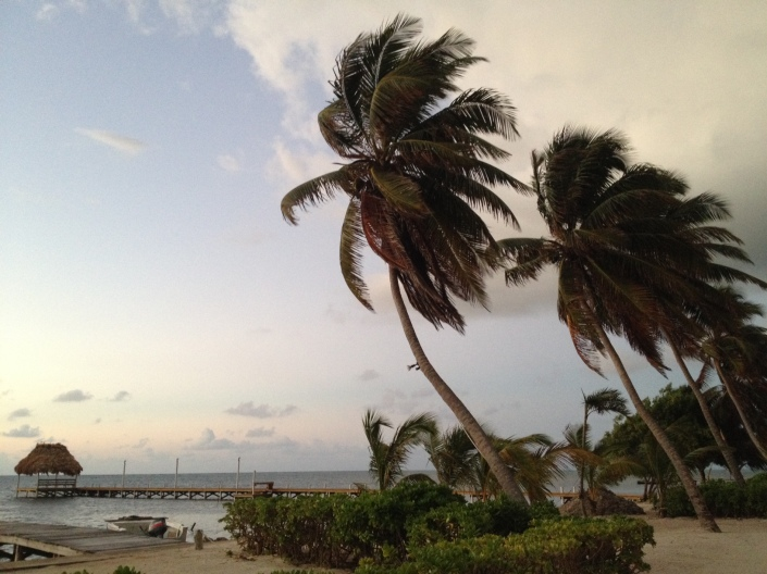 Easter Sunday morning, just as the sun is starting to arise on Ambergris Caye.