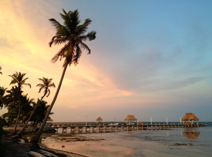 Sunset on the eastern shore of Ambergris Caye, Saturday, April 19, 2014. Good night, all, and Happy Easter Eve from Bob Hawkins and Rose Alcantara.