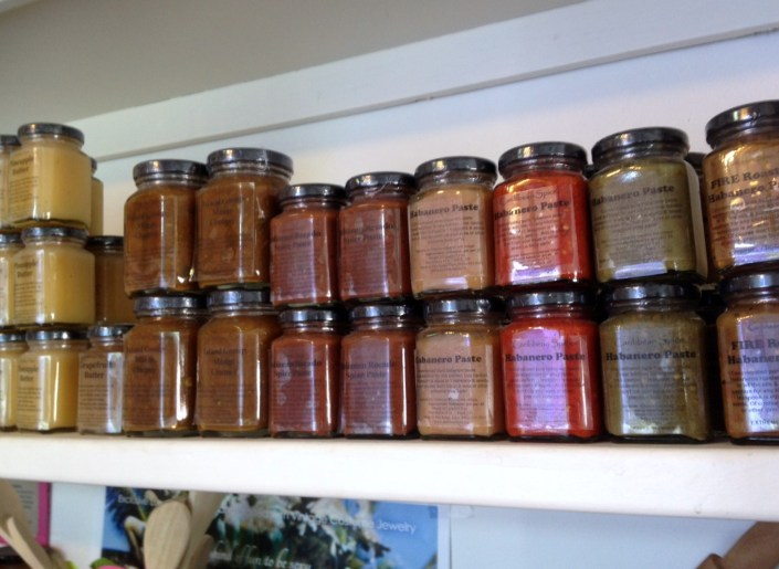 To you, this looks ike a tasty array of jams, sauces, curreys and preserves but in the hands of a klutze like me they are weapons of glass destruction.